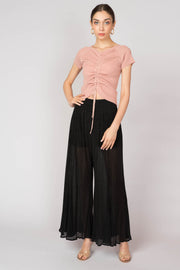 Pleated Sheer Wide Leg Pants - Berness