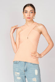 Cross Neck Ribbed Halter Top - Berness
