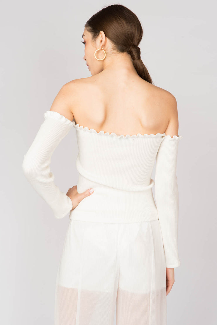 Ribbed Long Sleeve Bardot Top - Berness
