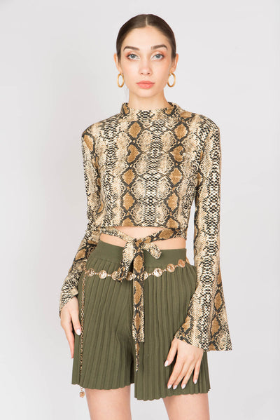 Snake Print Cropped Wide Hem Sleeve Top - Berness