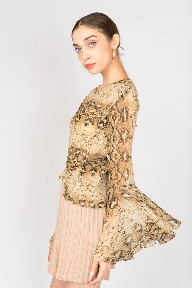Snake Print Mesh Pleated Top - Berness