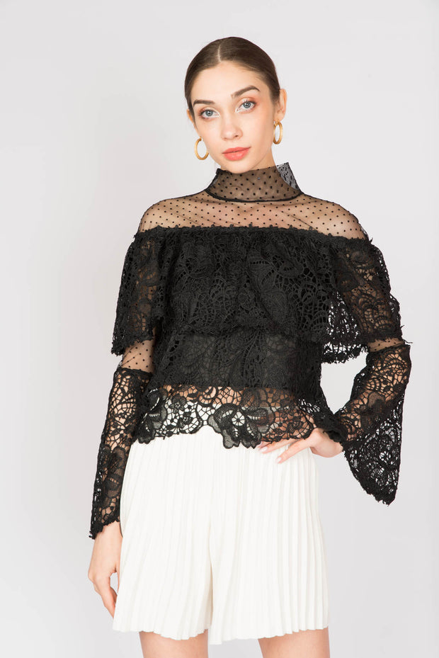 Lace Level Longsleeve Blouse - Berness
