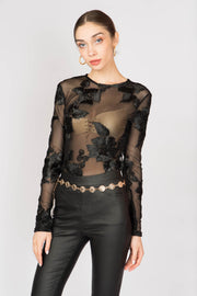 Flower Detailed Sheer Bodysuit - Berness