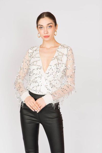 Sequin V-neck Party Bodysuit - Berness