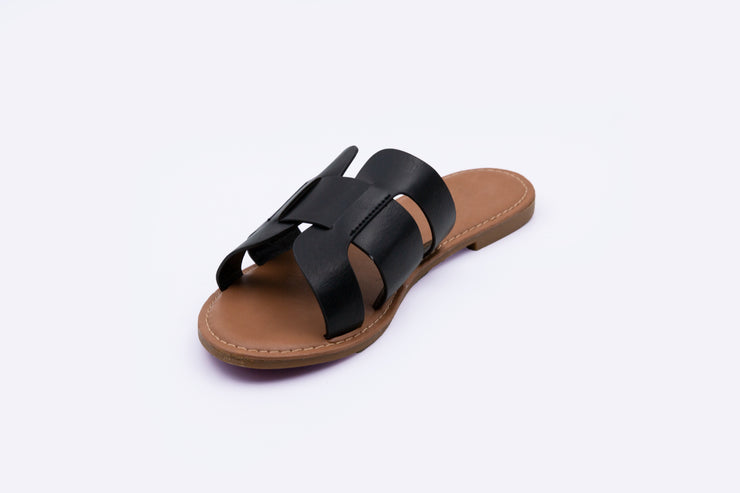 Black Leather Strap Sandal