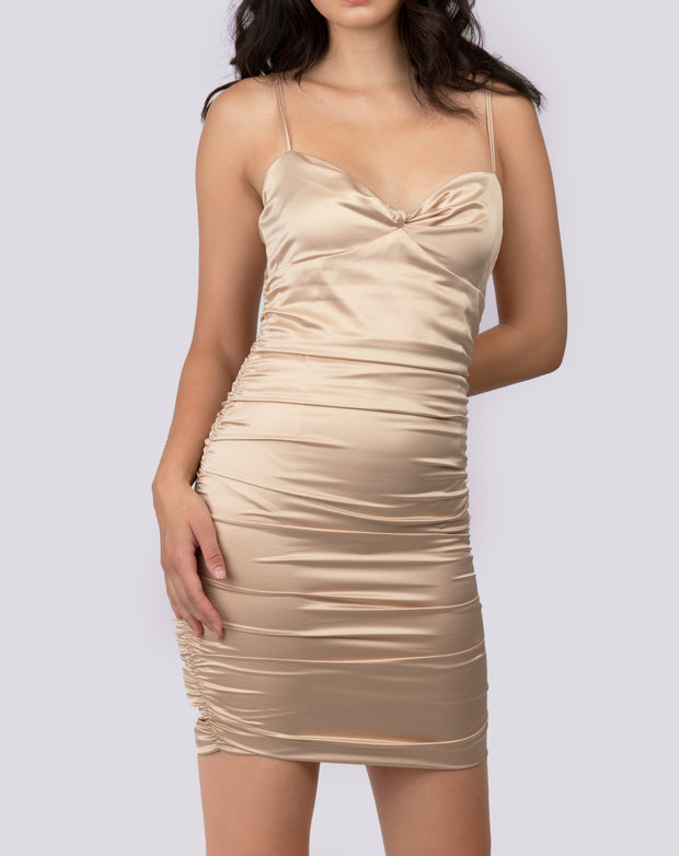 Satin Ruched Detail Dress - Berness