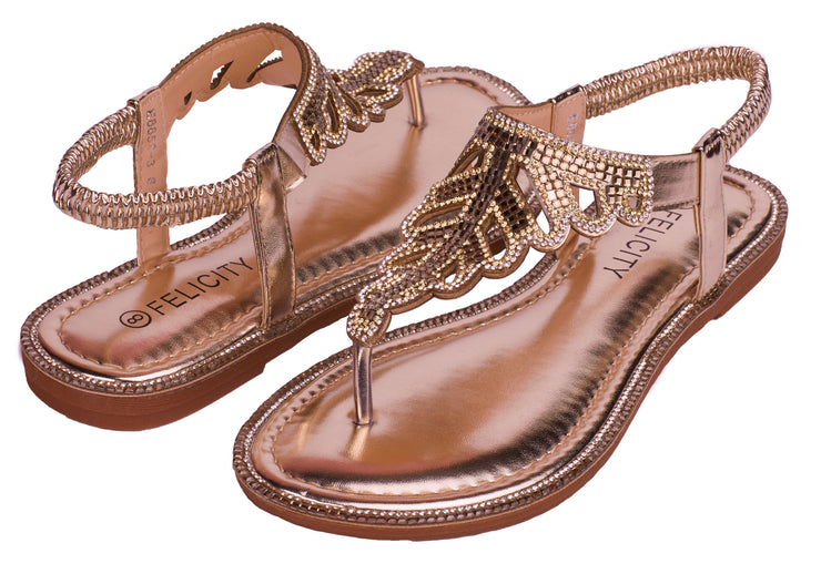 Champagne SPARKLY Women's Elastic Strappy String Thong Ankle Strap Summer Gladiator Sandals - Berness