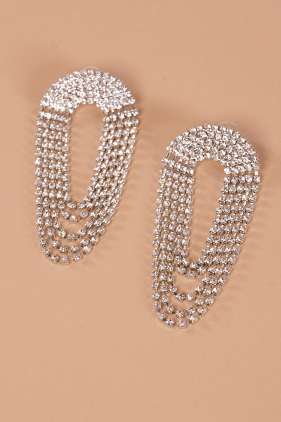 Draped Crystal Embellished Earrings - Berness