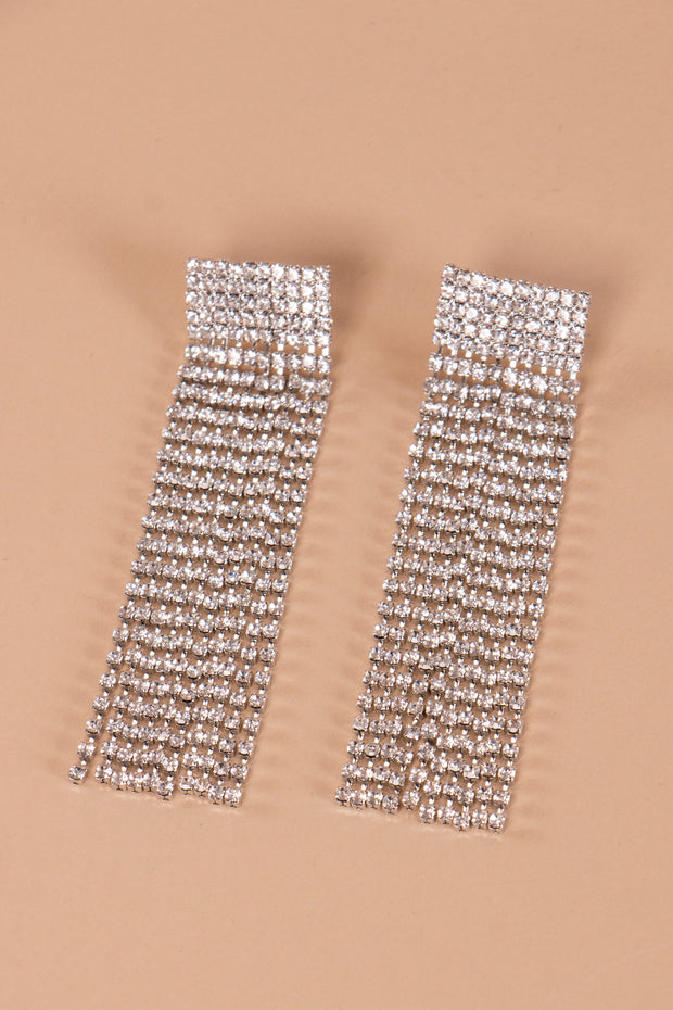 Wide Rectangular Crystal Earrings