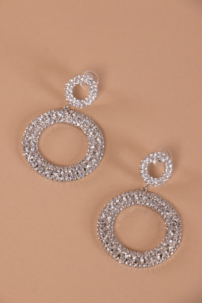 Round Diamante Drop Earrings - Berness