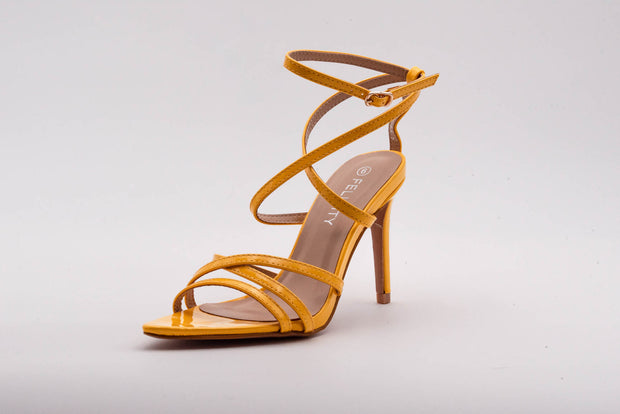 Yellow Pointed Lace Up Heel