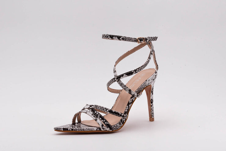 Snake Print Pointed Lace Up Heel - Berness