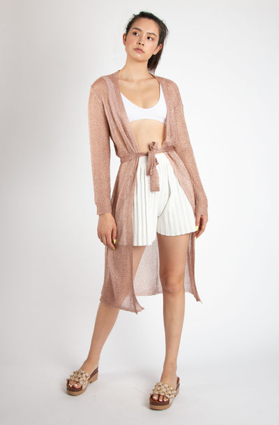 Metallic Belted Robe - Berness
