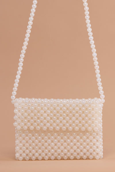 White Pearl Flap Bag - Berness