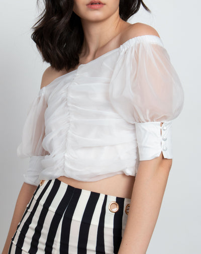 Mesh Ruched Off Shoulder Top - Berness