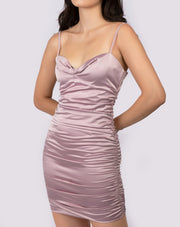 Satin Ruched Detail Dress