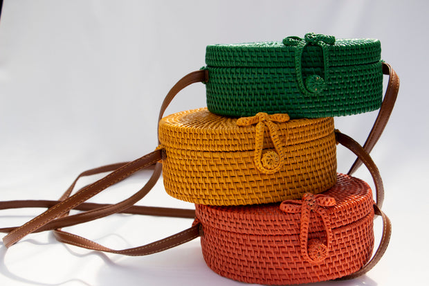 Yellow Straw Crossbody Bag