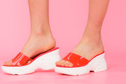 Red Chunky Sandals See-Through Strap - Berness