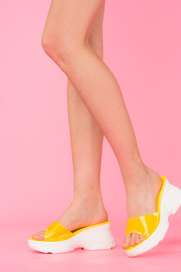 Yellow Chunky Sandals See-Through Strap - Berness