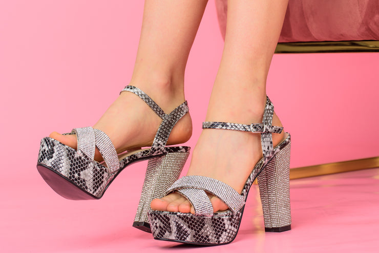 Snakeskin Women's Rhinestone Platform High Heel Party Sandals - Berness