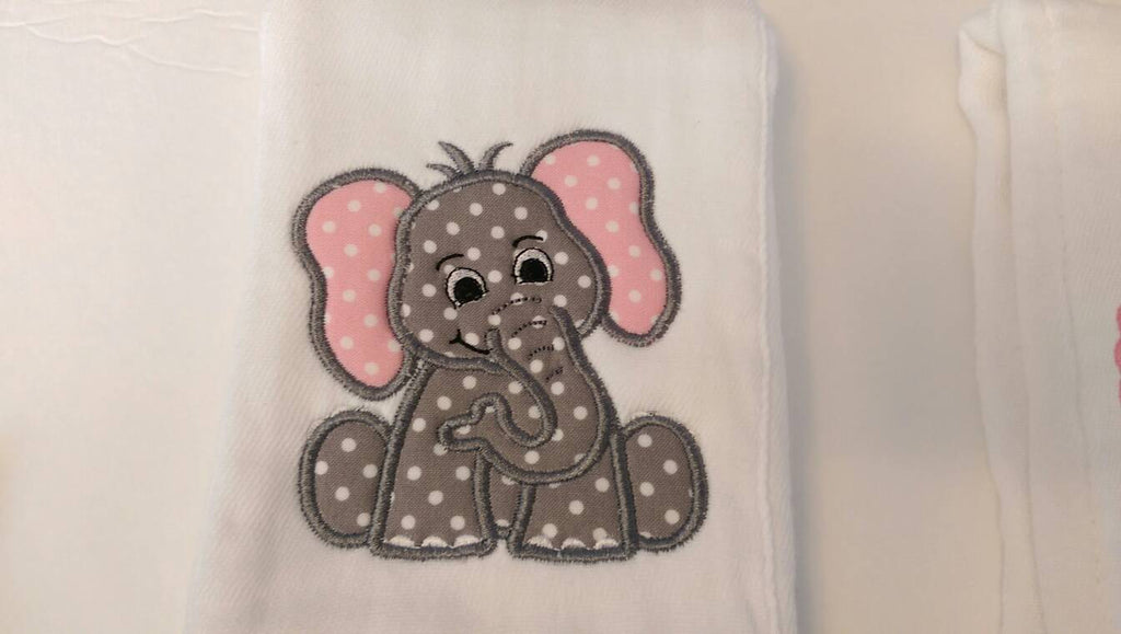 Appliqued elephant girl burp cloths pink purple personalized baby appliqued elephant girl burp cloths pink purple personalized baby shower gift baby negle Images