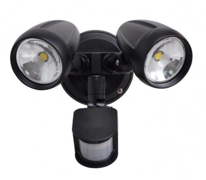 PHL4202 Black Double LED Exterior Flood Spotlight with Sensor