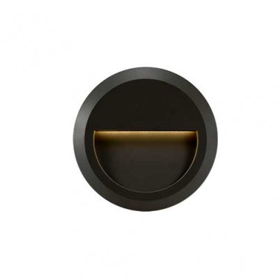 Prima Round Black LED Exterior Recess Wall Light