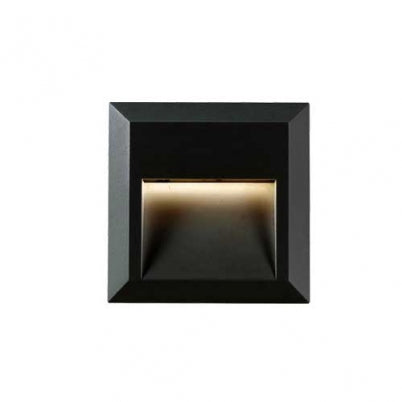 Prima Square Black LED Exterior Recess Wall Light