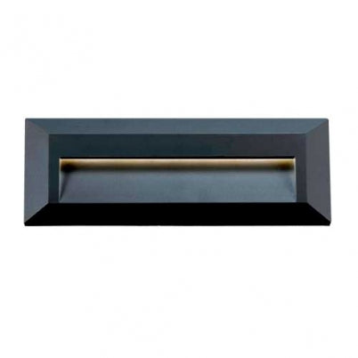 Prima Rectangle Black LED Exterior Recess Wall Light