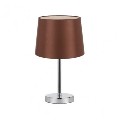 Adam Coffee Drum and Chrome Table Lamp