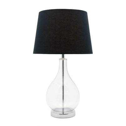 Gina Black and Glass Bottle Vase Table Lamp