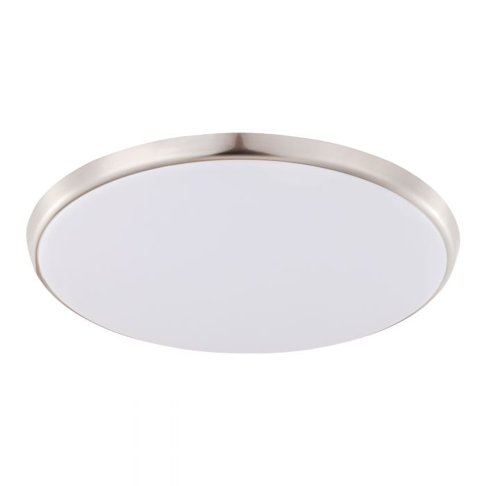 Ozzie 28w White and Satin Nickel Cool White LED Flush Ceiling Oyster Light