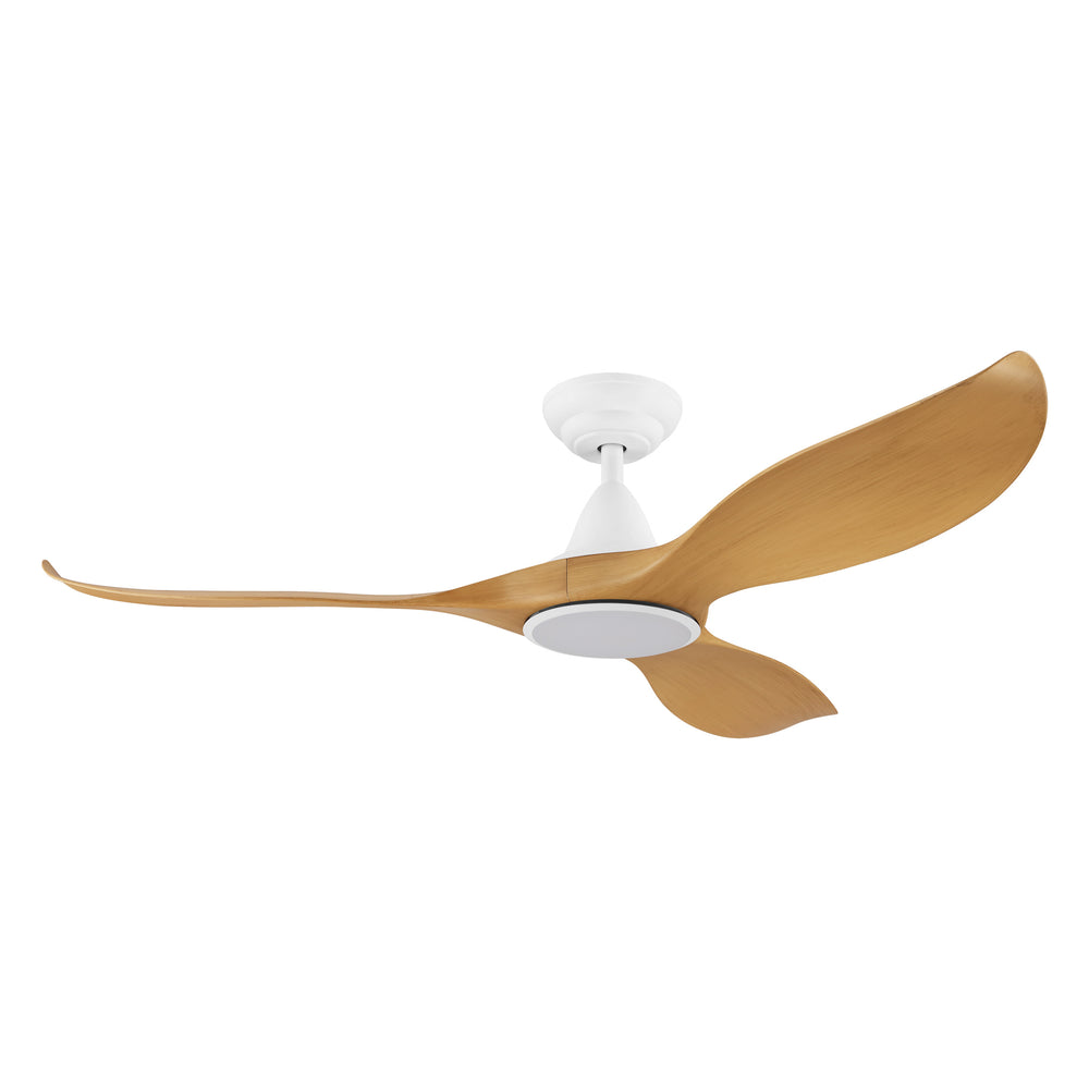 Noosa 132cm Bamboo and White DC Motor Ceiling Fan with LED Light