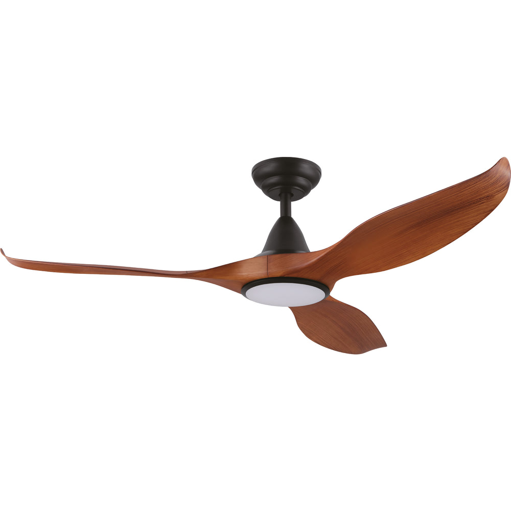 Noosa 132cm Teak and Black DC Motor Ceiling Fan with LED Light