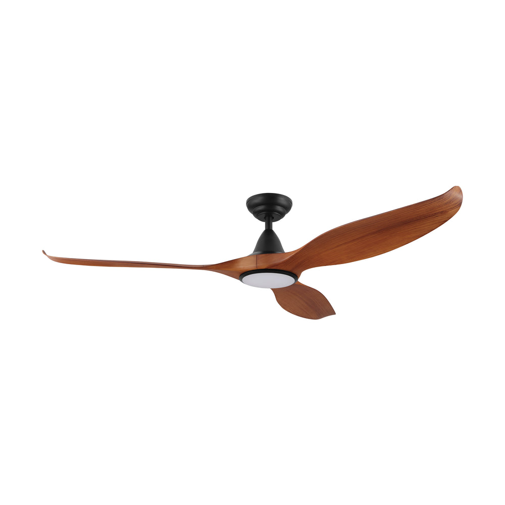 Noosa 152cm Teak and Black DC Motor Ceiling Fan with LED Light