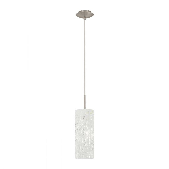 Hambleton Small White with Satin Nickel Modern Laser Cut Pendant