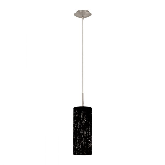 Hambleton Small Black with Satin Nickel Modern Laser Cut Pendant