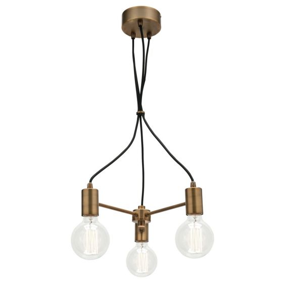 Colorado Aged Brass and Black Cable 3 Light Pendant