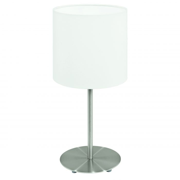 Pasteri Nickel and White Fabric Shade Table Lamp