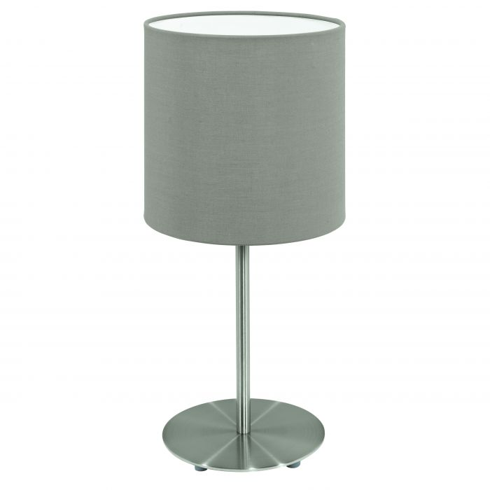 Pasteri Nickel and Taupe Fabric Shade Table Lamp