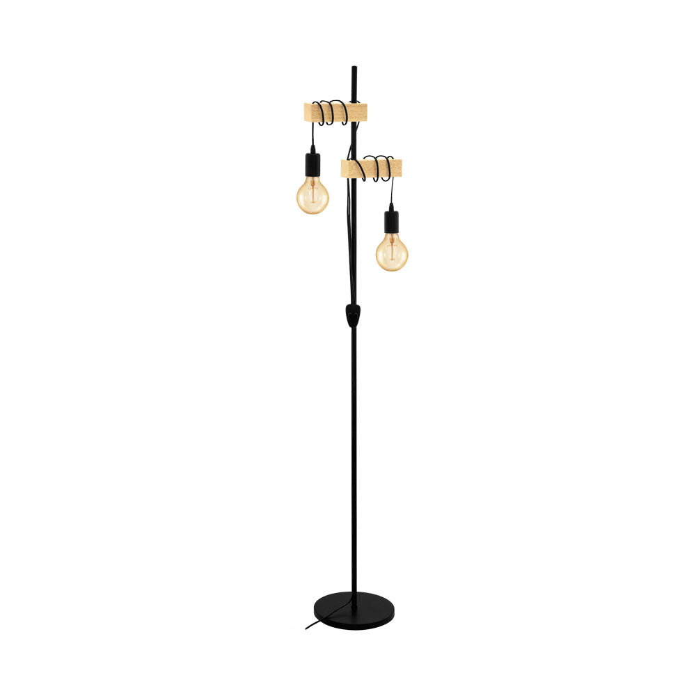Townshend Black and Timber Floor Lamp