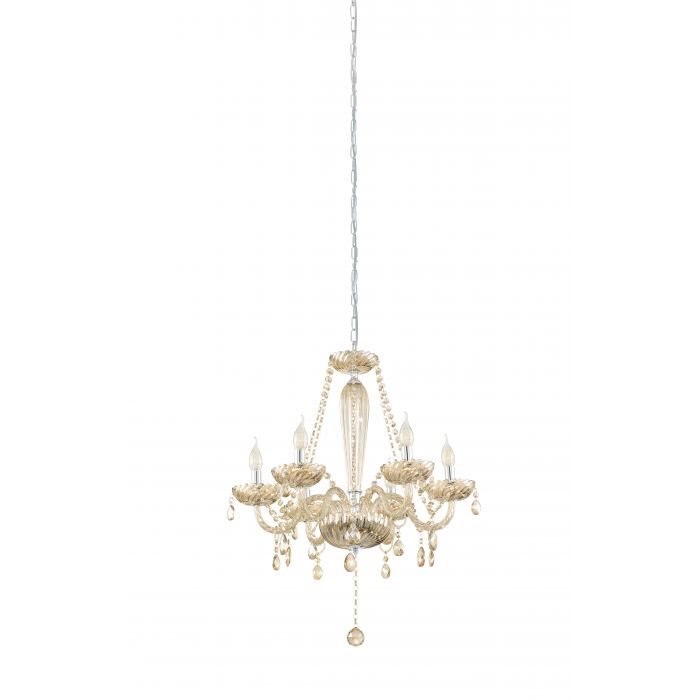 Basilano 6 Light Cognac Crystal Glass Chandelier Traditional Pendant