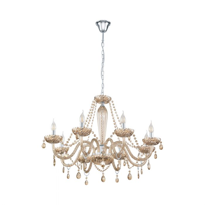 Basilano 8 Light Cognac Crystal Glass Chandelier Traditional Pendant