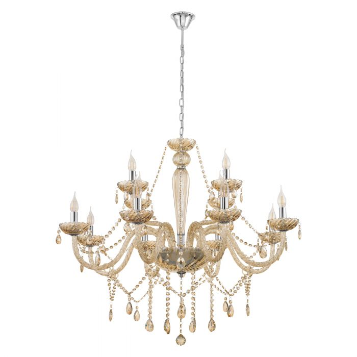 Basilano 12 Light Cognac Crystal Glass Chandelier Traditional Pendant