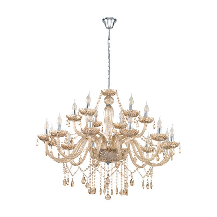 Basilano 18 Light Cognac Crystal Glass Chandelier Traditional Pendant