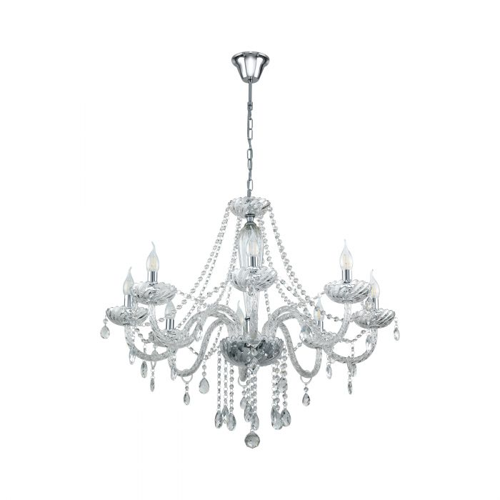 Basilano 8 Light Clear Crystal Glass Chandelier Traditional Pendant