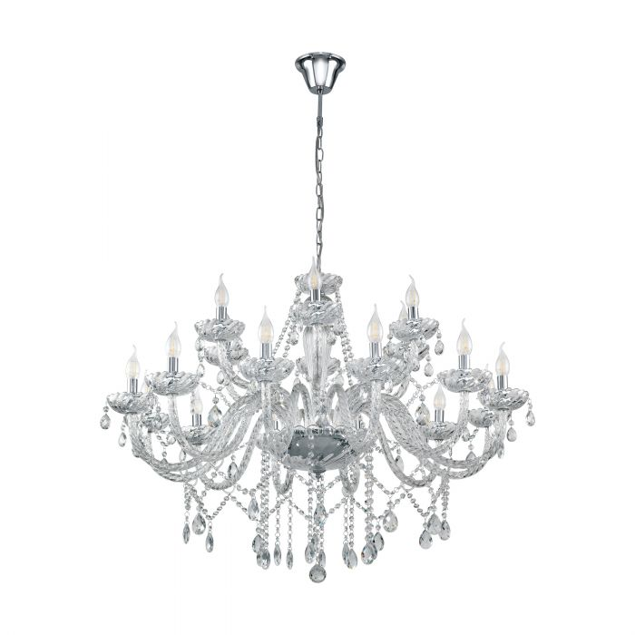 Basilano 18 Light Clear Crystal Glass Chandelier Traditional Pendant