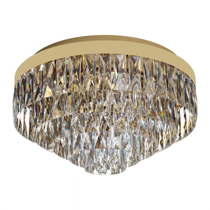 Valparaiso 8 Light Gold and Crystal Close to Ceiling Light