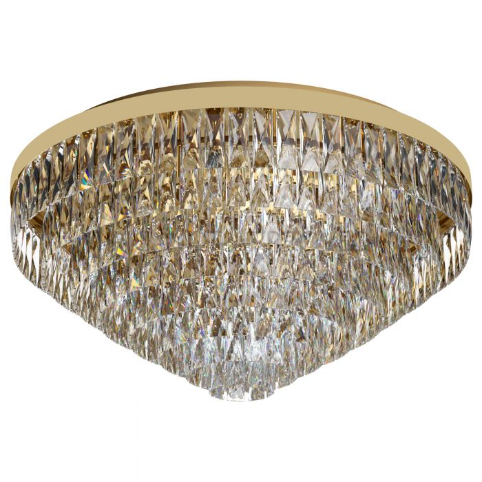 Valparaiso 16 Light Gold and Crystal Close to Ceiling Light