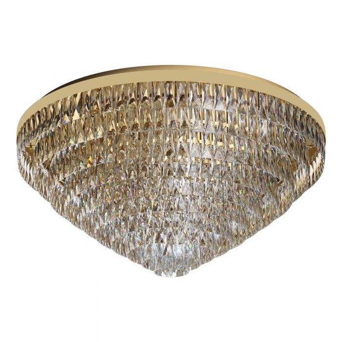 Valparaiso 25 Light Gold and Crystal Close to Ceiling Light